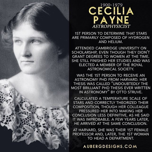 Cecilia Payne Astrophysicist Discovered stars made of Hydrogen and Helium