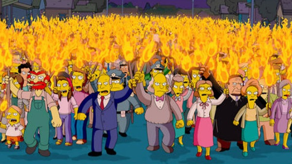 "In this animated image created by Matt Groening and released by Twentieth Century Fox, the entire town of Springfield is transformed into an angry mob, in a scene from ""The Simpsons"" movie. (AP Photo/Twentieth Century Fox, Matt Groening)"