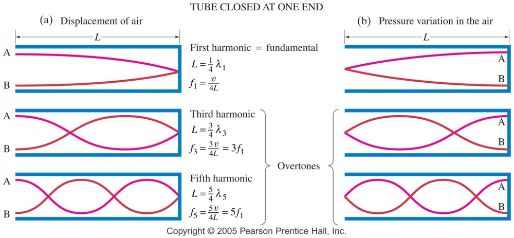 Tube closed at one end Music harmonics and fundamentals