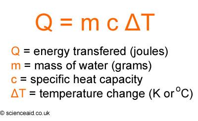 Q M c T specific heat formula