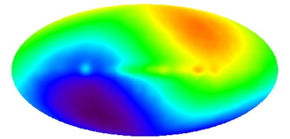 The CMB dipole as measured by COBE, representing our motion through the Universe relative to the CMB's rest frame. Image credit: DMR, COBE, NASA, Four-Year Sky Map.